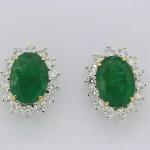Emerald and diamond cluster earrings, emerald 5.30ct, diamond 1.00ct, stamped 750