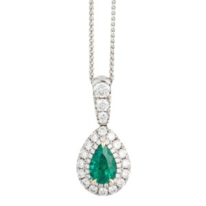 Emerald and diamond cluster pendant, set in 18ct white gold