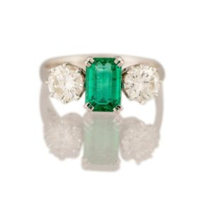 Emerald and Diamond Three Stone Ring, 1.30 carats, 18ct white gold
