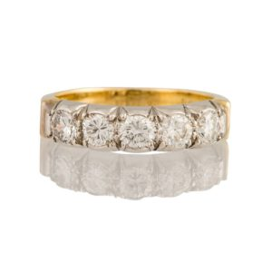 Vintage Five Stone Diamond Ring, 1.10ct, 18ct White Gold setting, 18ct Yellow Gold Band