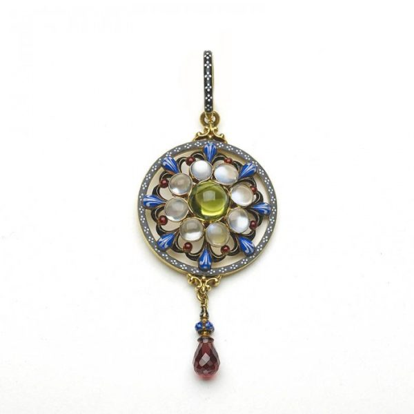 GIULIANO ENAMEL, PERIDOT, MOONSTONE, GARNET AND GOLD PENDANT