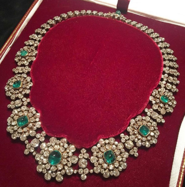 Antique Victorian emerald and diamond necklace