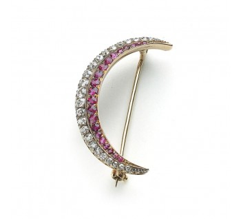 Victorian ruby and old-cut diamond crescent brooch, set in silver and gold, with pierced gallery, circa 1890