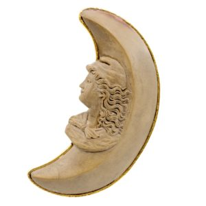 'Man in the Moon' Antique Lava Rock Brooch