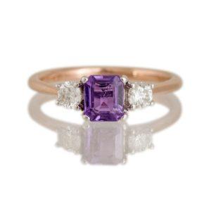 Octagonal Cut Mauve Sapphire and Diamond Three-Stone Ring