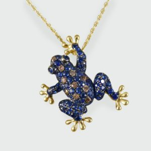 1.00ct Sapphire and Champagne Diamond Frog Pendant Brooch