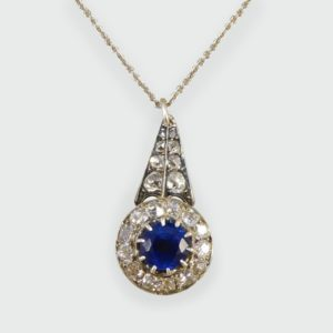 Antique Victorian 1.00ct Sapphire and Diamond Cluster Drop Pendant