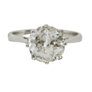Old Cut Diamond Solitaire Engagement Ring, 2.32 carats, set in 18ct white gold