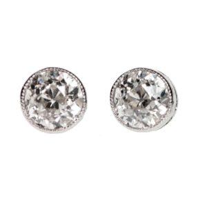 Old European Cut Diamond Stud Earrings, 1.10 carats