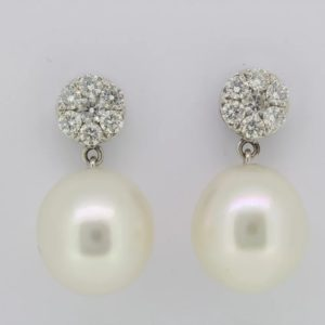 Pearl and Diamond Drop Earrings, 0.80 carats in total