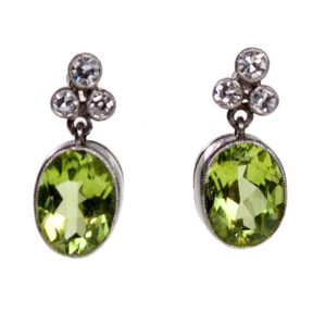 Peridot and Diamond Drop Earrings