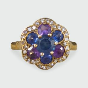 Vintage 1.25ct Blue and Purple Sapphire and Diamond Flower Cluster Ring