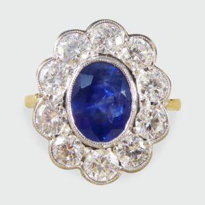 1.35ct Sapphire and Round Brilliant Cut Diamond Ring, 18ct Gold
