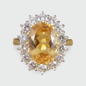 Orange Topaz and Diamond Cluster Ring