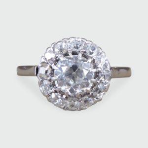 Antique Art Deco 1.30ct Diamond Cluster Ring, 18ct White Gold and Platinum