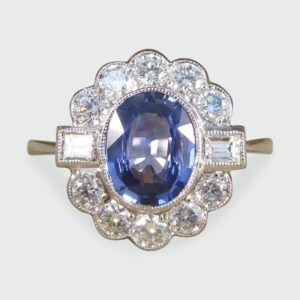 1.40ct Oval Cut Sapphire and Diamond Cluster Ring