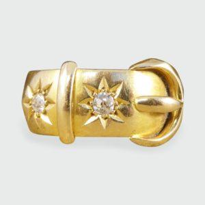 Antique Victorian Diamond Set Buckle Ring