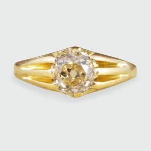 Antique Victorian Old Cushion Cut Diamond Gypsy Set Ring