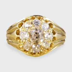 Antique Victorian Nine Stone Diamond Cluster Ring