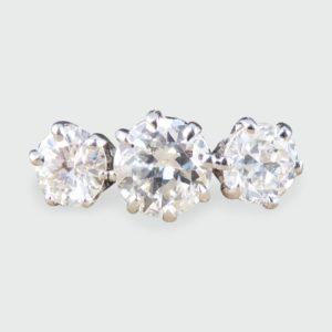 Vintage 1.25ct Round Cut Diamond Three Stone Ring
