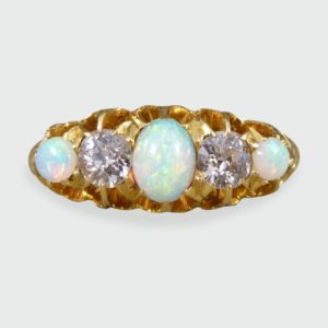 Antique Edwardian Opal and Round Cut Diamond Five Stone Ring