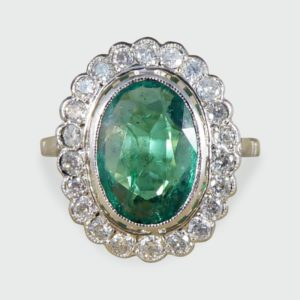 1.45ct Oval Cut Emerald and Diamond Cluster Ring