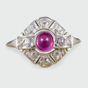 Antique Art Deco 0.25ct Cabochon Ruby and Diamond Ring