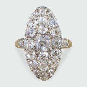 Antique Victorian 2.37ct Diamond Navette Ring