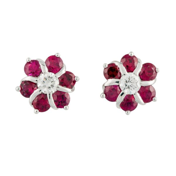 Ruby and diamond flower earrings