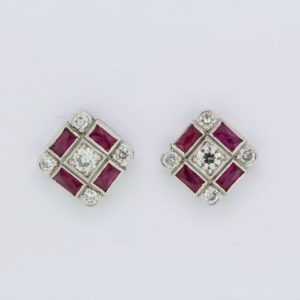 Ruby and diamond 'chequerboard' stud earrings, 1.20ct rubies, 0.70ct diamond, stamped 750
