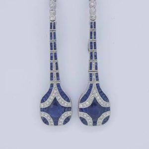 Art Deco style Sapphire and Diamond Drop Earrings