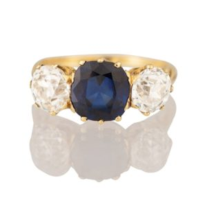 Late Victorian Sapphire and Diamond Three Stone Ring, totalling 5.47 carats, set in 18ct Yellow Gold, c.1900