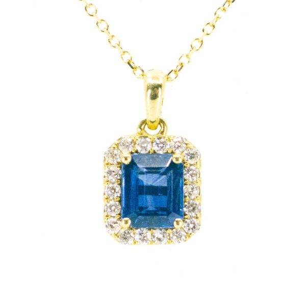 Sapphire and Diamond Cluster Gold Pendant