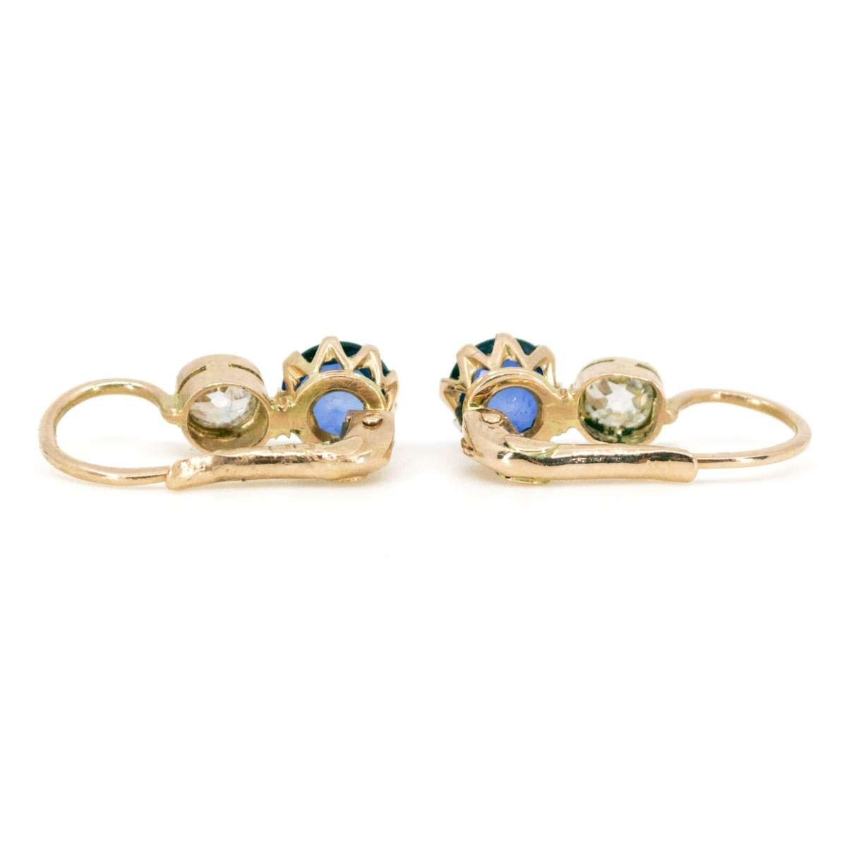 Sapphire And Old Mine Cut Diamond Gold Earrings