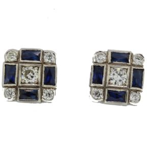 Sapphire and Diamond Cluster Earrings, chequerboard design, 1.20ct sapphires, 0.70ct diamonds, stamped 750