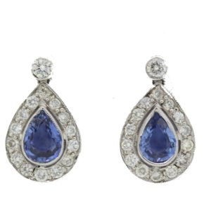 Sapphire and Diamond Teardrop Earrings, 2.75cts sapphires and 1.25cts diamonds, stamped 750
