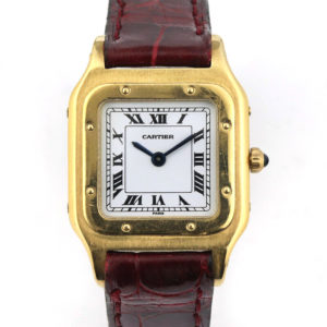 Ladies' Cartier Santos Vintage 18ct Yellow Gold Watch, Circa 1980s, manual winding movement, on an off brand red leather strap
