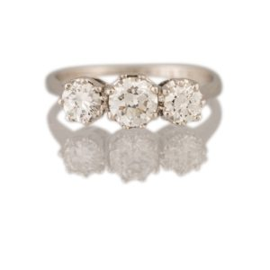 Vintage Three Stone Diamond Ring, 2.10 carats, Platinum