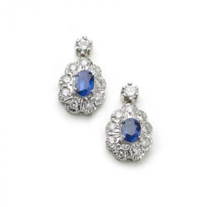 VINTAGE SAPPHIRE AND DIAMOND CLUSTER DROP EARRINGS