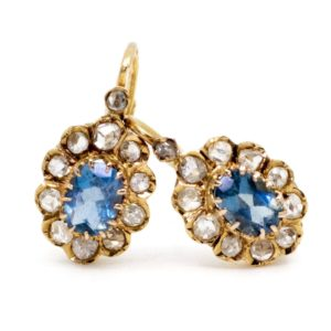 Victorian Aquamarine and Diamond Gold Earrings