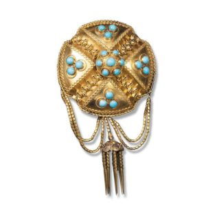 An Early Victorian 18ct Yellow Gold and Turquoise Brooch, circa 1850