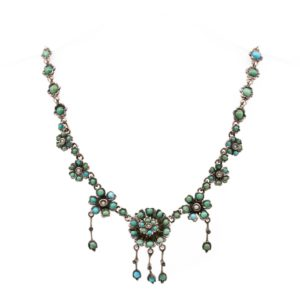 Victorian Pearl and Turquoise Silver Necklace BB1