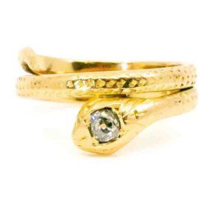 Victorian Antique gold snake diamond ring