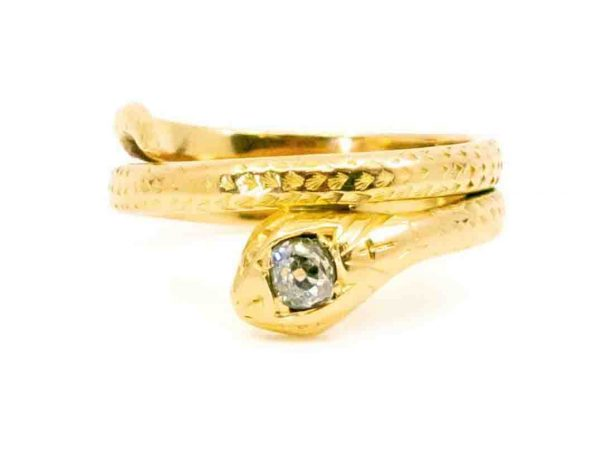 Victorian Antique gold snake diamond ring