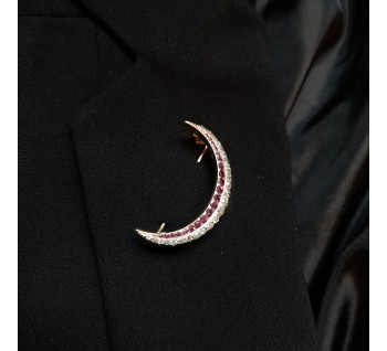 C.1890 ruby and diamond crescent brooch