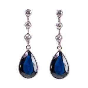 Vintage Art Deco Sapphire and Diamond Platinum Earrings