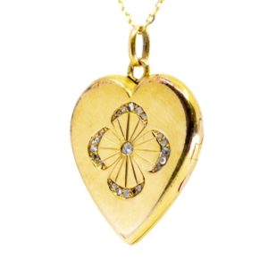 Vintage Diamond Set Heart Gold Locket BB1