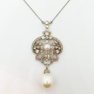 Vintage Diamond and Pearl Pendant Necklace
