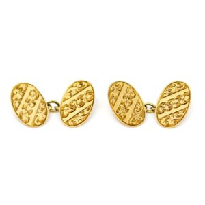 Vintage Ivy Engraved Oval Gold Cufflinks BB1