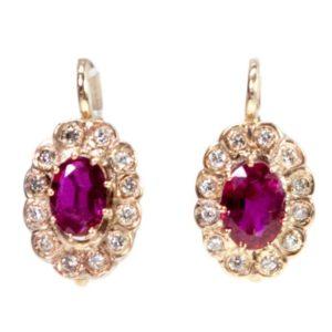 Vintage Ruby and Diamond Earrings BB